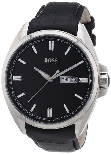 Hugo Boss 1512874 - Reloj analógico de cuarzo para hombre con correa de piel, color negro