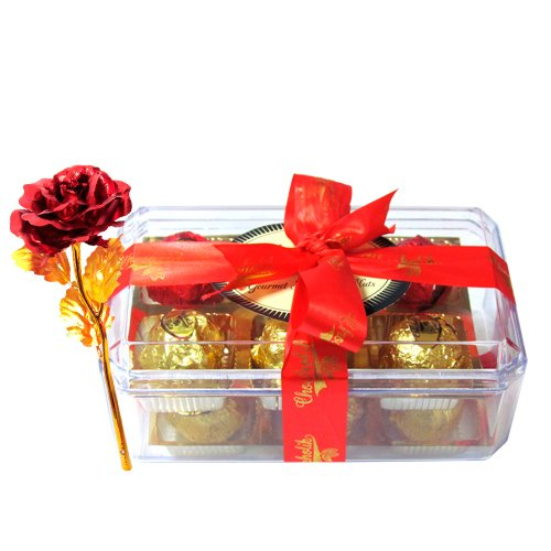 Yummy Chocolates Treat With 24k Red Gold Rose - Chocholik Luxury Chocolates