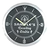 ncqm-tm Name Personalized Custom Recording Studio Microphone Neon Sign LED Wall Clock