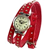 AMPM24 Vintage Red Leather Girl Lady Women Slim Wrap Around Bracelet Quartz Watch WAA275