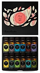 First Aid Essential Oil 12/10 ml Set- 100% Pure Therapeutic Grade Oils- (Comparable to Doterra\'s Family Physician Kit) Breathe Easier, Digest Ease, Eucalyptus (globulus), Fighting Five (previously known as Four Thieves), Head Ease, Lavender, Lemon, Muscle