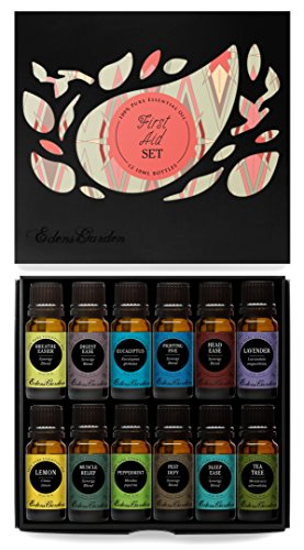 First Aid Essential Oil 12/10 ml Set- 100% Pure Therapeutic Grade Oils- (Comparable to Doterra's Family Physician Kit) Breathe Easier, Digest Ease, Eucalyptus (globulus), Fighting Five (previously known as Four Thieves), Head Ease, Lavender, Lemon, Muscle