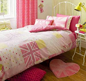 parure de lit housse de couette 140 x 200 cm london union jack drapeau anglais rose. Black Bedroom Furniture Sets. Home Design Ideas