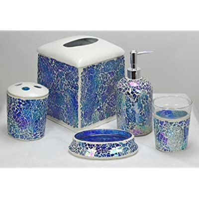 Iridescent blue mosaic glass 5 piece bathroom for Blue mosaic bathroom accessories