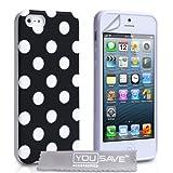 """iPhone 5 / 5S Tasche Silikon Punkte H�lle - Schwarzvon """"Yousave Accessories�"""""""