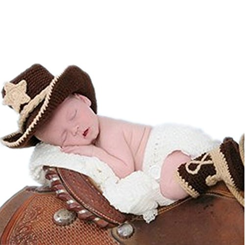 Fasion Newborn Baby Boy Girl Costume Outfits Photography Props Cowboy Hat Pant Boot