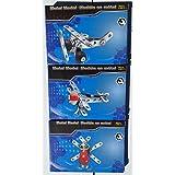 Mini Construction Kit Set (Robot Bug, Plane, & Bi-plane) Metal Models With Tools & Instruction