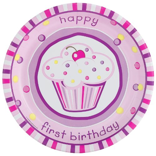 Girl's Lil' Cupcake 1st Birthday Dinner Plates (8)