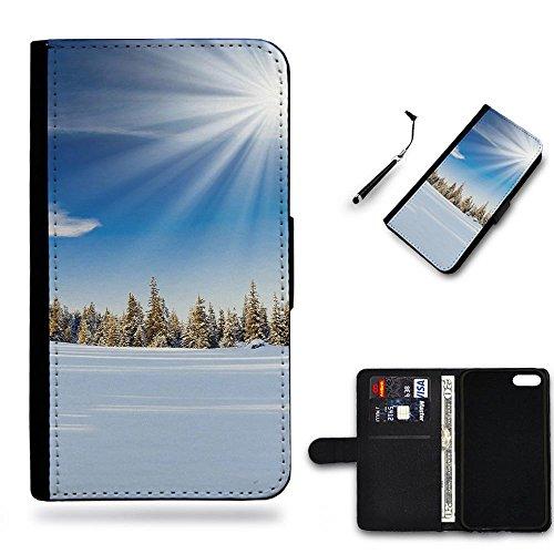 Your Choice Phone Case / Cellulare cassa del cuoio della calotta di protezione di caso Custodia protettiva per Samsung Galaxy Note 4 Edge N9150 // Winter Sunday Pure Forest
