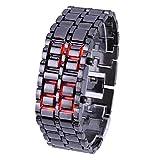 【ユニセックス】2 タイプ LED ウオッチ メンズ レディース ユニセックス 腕 時計 ファッション リストバンド メタル ブレッレット (ブラック&レッド)