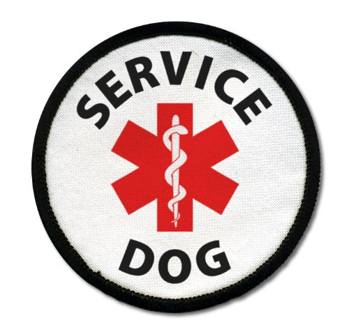For Sale! SERVICE DOG ADA Assistance Animal Medical Alert 2.5 inch Black Rim Sew-on Patch