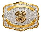 Crumrine Western Belt Buckle Kids Child 4H Clover Gold White 384
