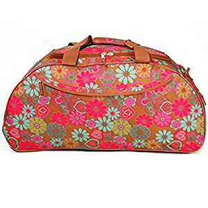 """30"""" Extra Large Brown Flower Print Lightweight Wheeled Holdall Holiday Weekend Travel Bag"""