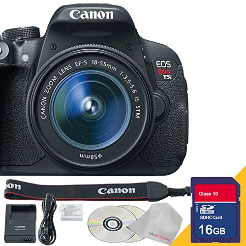 Canon EOS Rebel T5i DSLR Camera with 18-55mm Lens with 16GB SDHC Class 10 High Speed Memory Card