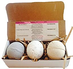 ! Organic Bath Bomb Gift Set of 3! EXTRA LARGE 7-8 oz. Black Ball, Chai Tea & Citrus, and Clove & Ginger Bath Bombs