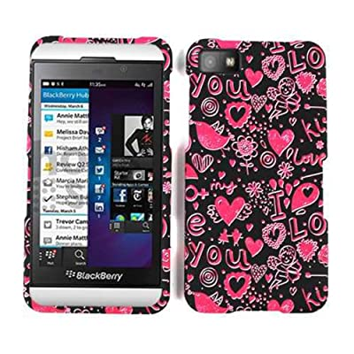 Cell Armor BBZ10-SNAP-TE371 Snap-On Case for BlackBerry Z10 - Retail Packaging - Pink Hearts on Black from Cell Armor