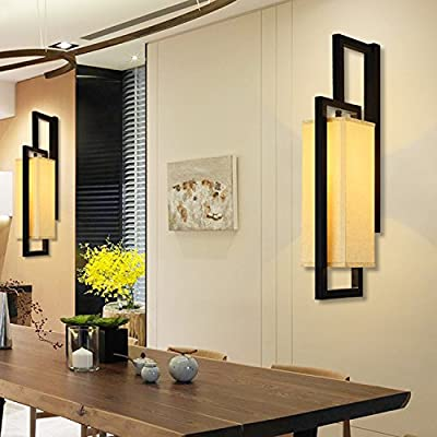 WL&F LED Wall Lamp The Ming And Qing Dynasties Classical New Chinese Square Fabric Wrought Iron Bed Wall Lamp Living Room Bedroom Lamp Restaurant Restaurant Hotel E27
