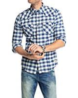 EDC by Esprit Men's Bleached Check Regular Fit Casual Shirt