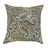 Chooty & CO Paisley Self Backed KE Fiber Pillow, 17 by 17-Inch, Chocolate, Set of 2