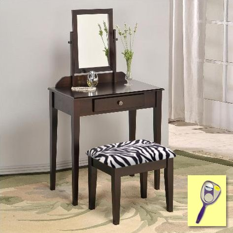 New Cappuccino / Espresso Finish Make Up Vanity Table with Mirror & Black & White Zebra Faux Fur Themed Bench