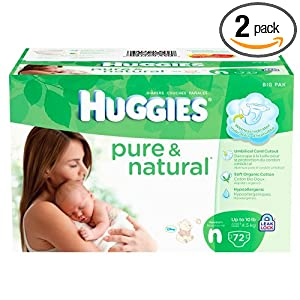 Huggies Pure & Natural Diapers, Size 1, 80 Count (Pack of 2)