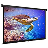 VonHaus 80-inch Widescreen Projector Screen (Manual Pull Down) - Home Theater/Cinema or Presentation Platform - 16:9 Aspect Ratio Projection Screen - Suitable for HDTV/Sports/Movies/Presentations