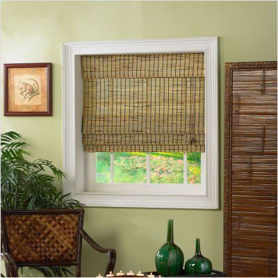 """Roman Shade with Valance in Burnt Bamboo Size: 72"""" H x 34.5"""" W"""
