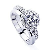 Platinum Plated Sterling Silver Wedding & Engagement Ring Halo Design Bridal Set, Round Cut 1.2Carat Cubic Zirconia ( Size 5 to 7) by Double Accent