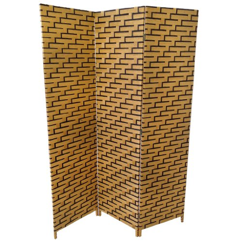 Contemorary Woven Bonded Paper 2 Tone 3 Panel Folding Free Standing Screen Room Divider in Brown with Wooden Frame.