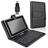 """HK 5 pin Micro USB Keyboard With Protective Leather Protector Case Stand Holder Cover for 7 inch 7"""" Tablet PC MID Black"""
