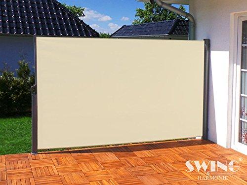 Swing & Harmonie Seitenmarkise Sichtschutz Aluminium Seitenrollo Markise Seitenwand Terasse Balkon (200x300cm, creme)
