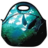 Snoogg Aquarium Fishes Travel Outdoor Carry Lunch Bag Picnic Tote Box Container Zip Out Removable Carry Lunchbox Handle Tote Lunch Bag Food Bag For School Work Office
