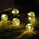 Solar Outdoor String Lights, Satu Brown 21ft 30 LED Waterproof Crystal Ball Starry Globe Lights for Home, Garden, Patio, Yard, Parties, Christmas Decoration