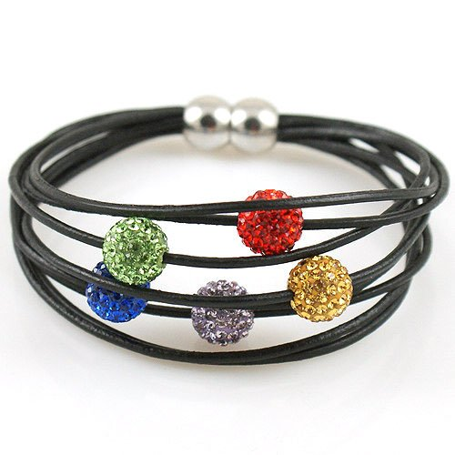 Ladies magnetic clasp bracelet - Multi-strands of leather with 5 high quality coloured crystal balls