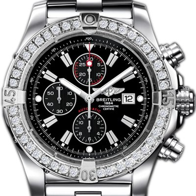 Breitling Super Avenger watch 3.2 carats diamond bezel - black dial
