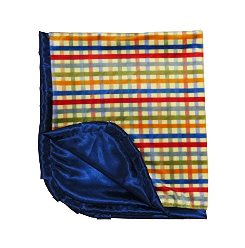 Caught Ya Lookin' Reversible Baby Blanket, Yellow, Red and Blue Plaid, - 1