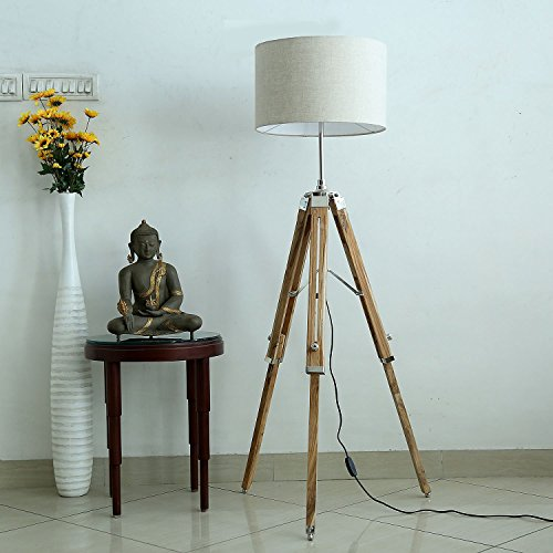 pure-linen-fabric-grey-color-drum-shape-shade-with-natural-finish-wooden-tripod-floor-lamp