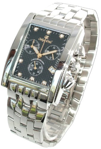 Oskar Emil Gents Rodez Steel 7 Diamond Chronograph Watch with Black Dial