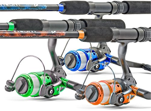 South Bend Worm Gear Spinning Fishing Combo – Green, Blue or Orange