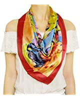 TONY & CANDICE (TM) Womem's Graphic Print 100% Silk, Silk Scarf Square , 33*33 Inches