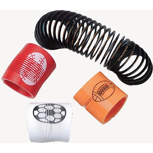 Dozen Assorted Sports Design Mini Plastic Springs - 1 3/8""