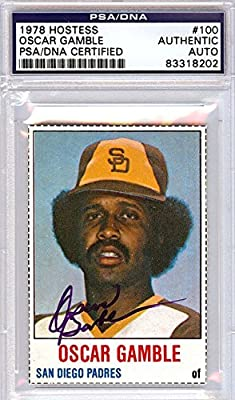 Oscar Gamble San Diego Padres Autographed PSA/DNA Authenticated 1978 Hostess Card - Signed Trading Cards