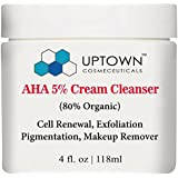 Facial Cleanser & Anti Wrinkle AHA Cream Cleanser 5% From Uptown Cosmeceuticals, Highly Moisturizing, Effective Skin Care,  Exfoliator, Fights Signs of Aging & Breakouts Revealing Radiant Skin, 4 Oz