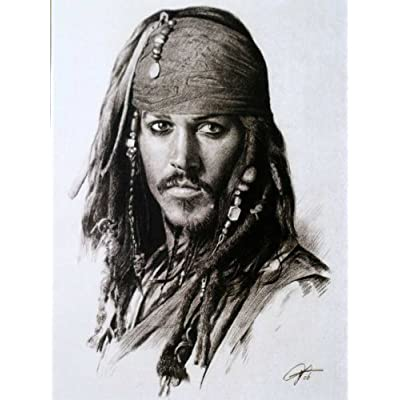 Amazon.com: Johnny Depp in Pirates of the Caribbean Sketch Portrait