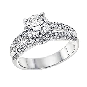 GIA Certified 14k white-gold Round Cut Diamond Engagement Ring (1.70 cttw, E Color, SI1 Clarity)