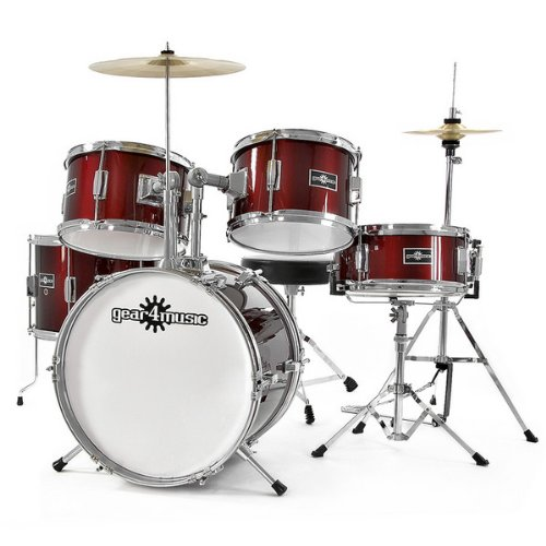Junior 5 Piece Drum Kit by Gear4music Wine Red