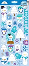 Doodlebug Frosty Friends Glitter Cardstock Stickers 6-Inch by 13-Inch Icons