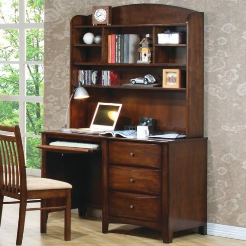 Buy Low Price Comfortable Hillary and Scottsdale Single Pedestal Youth Computer Desk with Hutch by Coaster (B0051MUD4A)