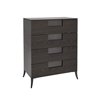 Gillmore Space Wide Four Drawer Chest in Dark Charcoal Wood with Gun Metal Legs