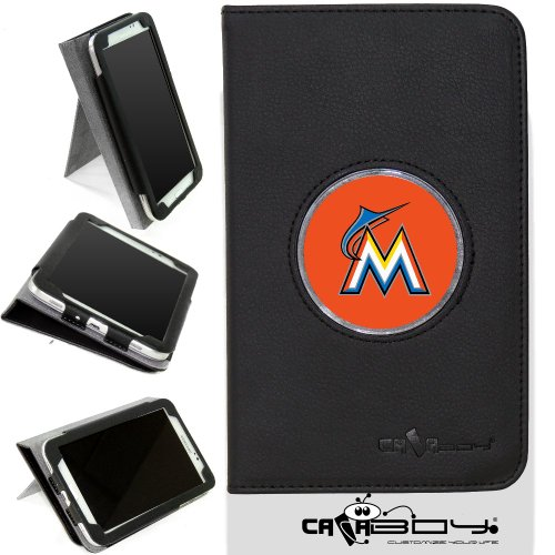 New Samsung Galaxy Tab 3 7 inch leather Case By Calaboy- Interchangeable Design - Personalized Picture Frame w Miami Marlins Logo (bb28) at Amazon.com